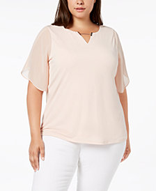 Calvin Klein Plus Size Sheer-Sleeve Top