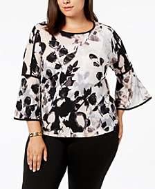 Calvin Klein Printed Bell Sleeve With Piping