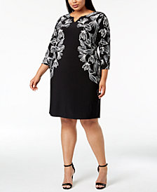 Calvin Klein Plus Size Mirror-Print Sheath Dress
