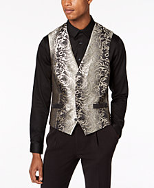 I.N.C. Men's Slim-Fit Gold Jacquard Suit Vest, Created for Macy's