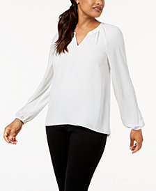 Kasper V-Neck Crepe Top