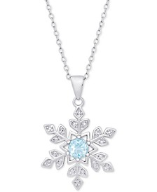 "Blue Topaz (1/2 ct. t.w.) & Diamond Accent Snowflake 18"" Pendant Necklace"