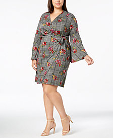 NY Collection Plus Size Bell-Sleeve Wrap Dress