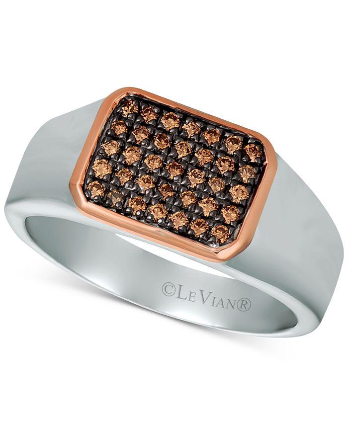Le Vian - Men's Diamond Ring (1/3 ct. t.w.) in Sterling Silver & 14k Rose Gold
