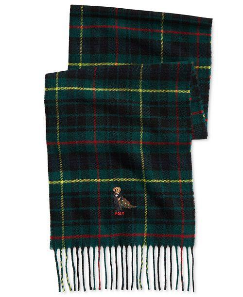 Polo Ralph Lauren Men s Polo Bear Plaid Scarf   Reviews - Hats ... 505e1a012e054