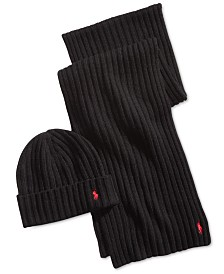 Polo Ralph Lauren Men's Classic Ribbed Hat & Scarf Gift Set