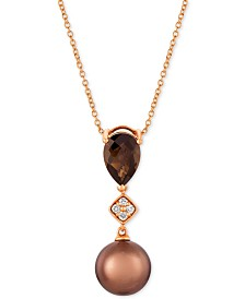 "Le Vian® Chocolate Pearl® (9mm), Chocolate Quartz (1-1/4 ct. t.w.) & Diamond Accent 20"" Pendant Necklace in 14k Rose Gold"