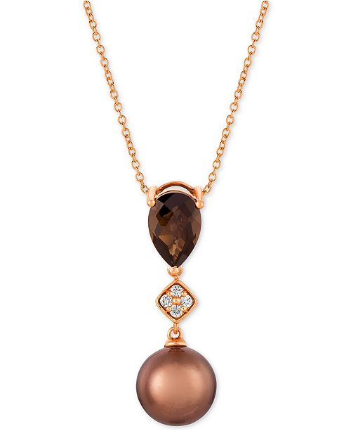 "Le Vian Chocolate Pearl® (9mm), Chocolate Quartz (1-1/4 ct. t.w.) & Diamond Accent 20"" Pendant Necklace in 14k Rose Gold"