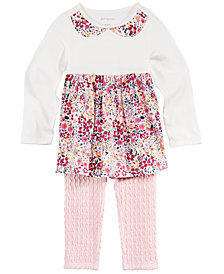 First Impressions Baby Girls Faux-Collar Tunic & Textured Leggings, Created for Macy's