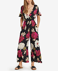 Billabong Juniors' Floral-Print Surplice-Neck Jumpsuit