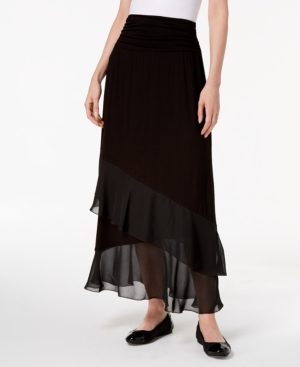 1930s Style Skirts : Midi Skirts, Tea Length, Pleated Jm Collection Layered Chiffon Maxi Skirt Created for Macys $34.65 AT vintagedancer.com