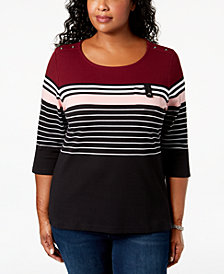 Karen Scott Plus Size Taylor Striped Top, Created for Macy's