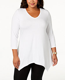 JM Collection Plus Size Handkerchief-Hem Top, Created for Macy's