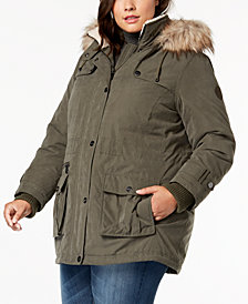 DKNY Plus Size Faux-Fur-Trim Hooded Anorak Coat