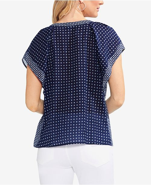 Navy Top Sleeve Flutter Camuto Printed Vince Classic wFY01q