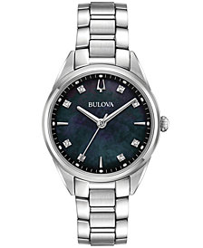Bulova Women's Sutton Diamond-Accent Stainless Steel Bracelet Watch 32.5mm