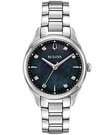 Bulova Women's Sutton Diamond-Accent Stainless Steel Bracelet Watch 32mm