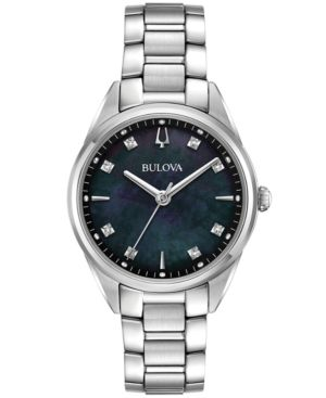 BULOVA Women'S Sutton Diamond-Accent Stainless Steel Bracelet Watch 32Mm in Black/Silver