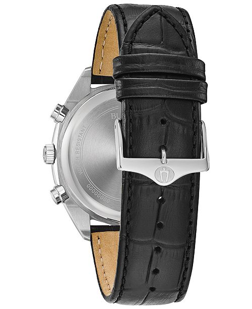 0585f3ea0 ... Bulova Men's Chronograph Classic Surveyor Black Leather Strap Watch ...