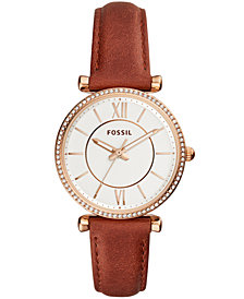 Fossil Women's Carlie Terracotta Leather Strap Watch 35mm