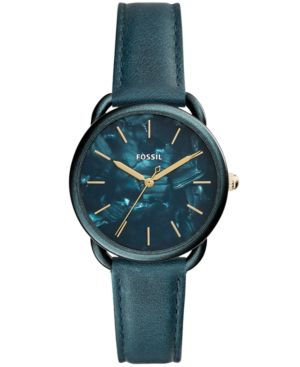 Women'S Tailor Teal Leather Strap Watch 35Mm