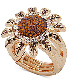 Anne Klein Gold-Tone Crystal Sunflower Stretch Ring