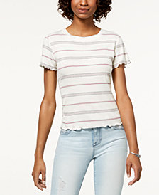 Hippie Rose Juniors' Striped Lettuce-Edge T-Shirt