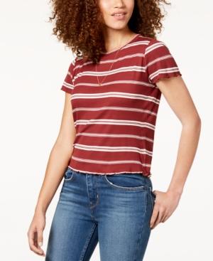Women's 70s Shirts, Blouses, Hippie Tops Hippie Rose Juniors Striped Lettuce-Edge T-Shirt $5.56 AT vintagedancer.com