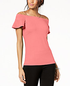 I.N.C. Off-The-Shoulder Flutter-Sleeve Top, Created for Macy's