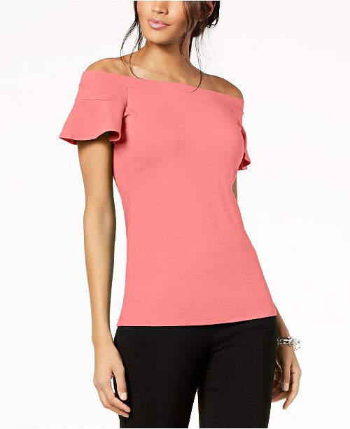 INC International Concepts I.N.C. Off-The-Shoulder Flutter-Sleeve Top, Created for Macy's