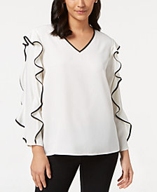 Alfani Petite Pipe-Trim Ruffle-Sleeve Top, Created for Macy's