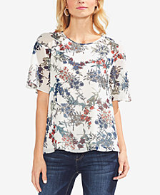 Vince Camuto Sheer-Sleeve Printed Top