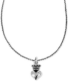 "King Baby Women's Crown Heart 18"" Pendant Necklace in Sterling Silver"