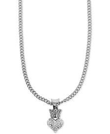 "King Baby Women's Pavé Crown Heart 18"" Pendant Necklace in Sterling Silver"