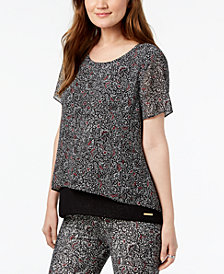 MICHAEL Michael Kors Layered Printed Short-Sleeve Top, In Regular & Petite Sizes