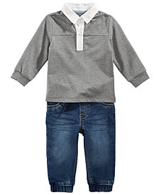 First Impressions Baby Boys Polo Shirt & Denim Jogger Jeans, Created for Macy's