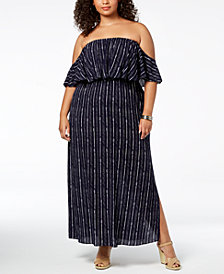 Soprano Trendy Plus Size Printed Off-The-Shoulder Maxi Dress