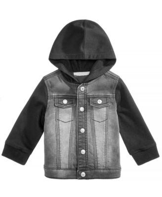 Baby Boys Layered-Look Hooded Denim Jacket, Created for Macy's
