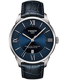 Tissot Men's Swiss Automatic T-Classic Le Locle Powermatic 80 Blue Leather Strap Watch 42mm