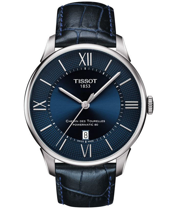Tissot - Men's Swiss Automatic T-Classic Le Locle Powermatic 80 Blue Leather Strap Watch 42mm