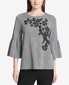 Calvin Klein Embroidered Bell-Sleeve Top