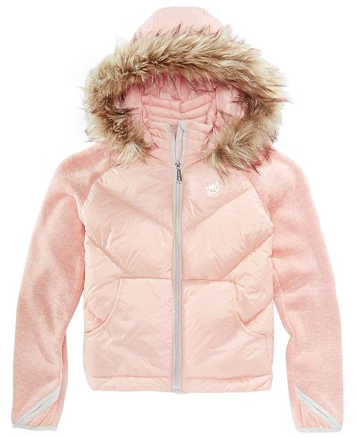 50b4be235c130 Michael Kors Big Girls Jacket with Removable Faux-Fur-Trimmed Hood ...