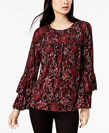 MICHAEL Michael Kors Paisley-Print Tiered-Sleeve Top, In Regular & Petite Sizes