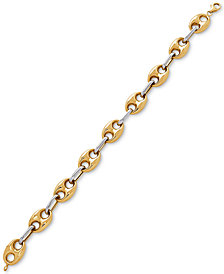 Two-Tone Mariner Link Chain Bracelet in 14k Gold & White Gold