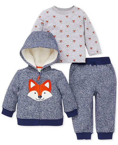 acfa271b98b5 ... Little Me Baby Boys 3-Pc. Fox Hoodie