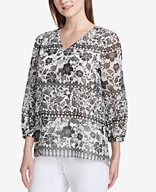 Calvin Klein Printed 3/4-Sleeve Blouse