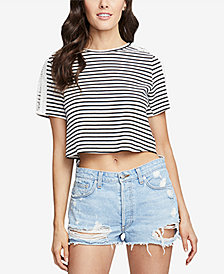 RACHEL Rachel Roy Striped Boxy T-Shirt with Crossover Split Back, Created for Macy's