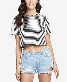 b187dbed0a70 RACHEL Rachel Roy Striped Boxy T-Shirt with Crossover Split Back