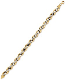 Two-Tone Textured Link Bracelet in 10k Gold & Rhodium-Plate