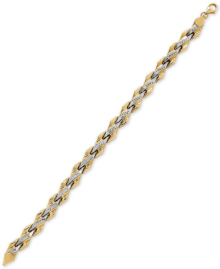 Italian Gold - Two-Tone Textured Link Bracelet in 10k Gold & Rhodium-Plate